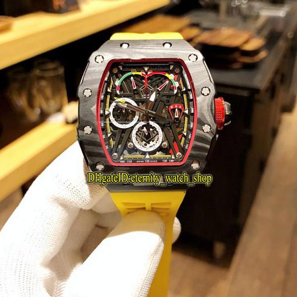 Novo RM 50-03 / 01 McLaren F1 Esqueleto Dial Japão VK Quartz Chronograph Movimento RM50-03 Mens Watch Preto Carbono Caixa De Fibra De Borracha Amarela