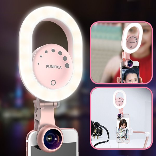 48 LED 180° Rotatable Camera Makeup Light Kit 3 Modes Rechargeable selfie light ring lens for iPhone cellphone tablet