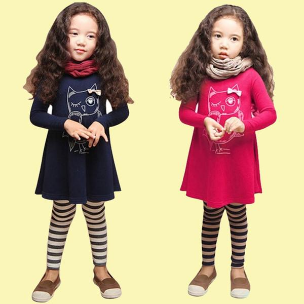 Meninas vestidos coruja impressa 2 cores de manga Cheia de moda dos desenhos animados crianças roupas Crianças Roupas De Grife Meninas JY13