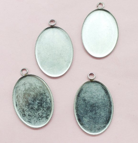 Necklace pendant !# 100pcs 18 x25 mm stainless steel inner elliptical teeth edge sin Blank Pendant Bases Cameo Cabochon