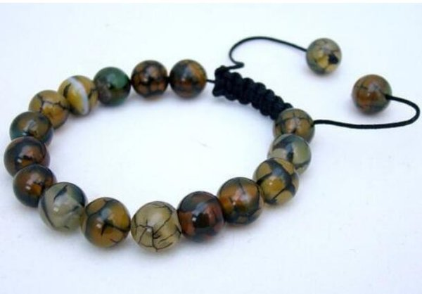Jewelryr Jade Bracelet Pulsera para hombre todos 10mm NATURAL DRAGON VEINS AGATES jade beads 7.5