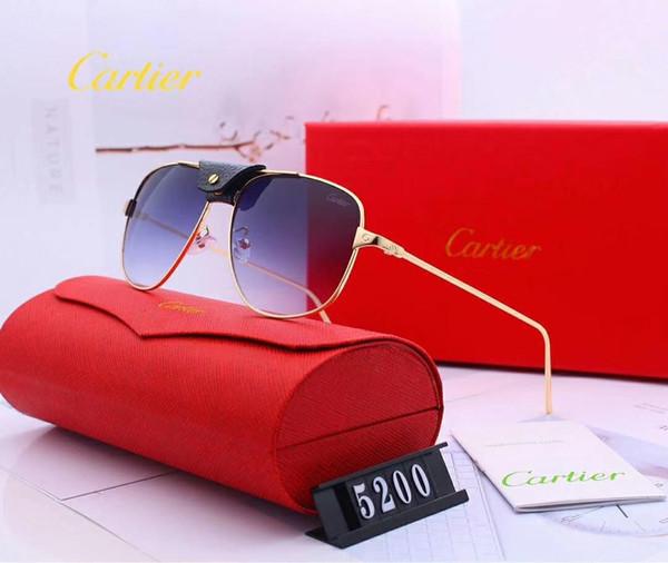 Tasarımcı Güneş Gözlüğü Lüks Güneş Tasarımcı Cam Adam Womena Adumbral Gözlük UV400 Marka C5200 ile 6 Renkler Kutusu ile Yüksek Kalite