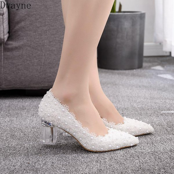 8//11cm Lace white crystal Wedding shoes Bridal flats low high heel pump size