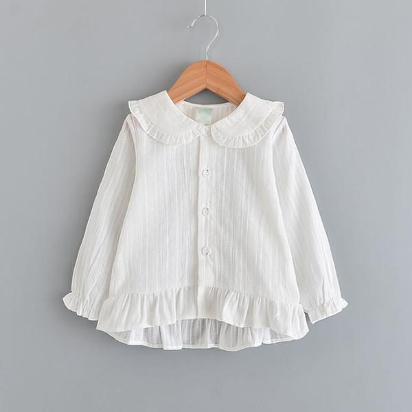 2019 Spring new kids shirt girls ruffle lapel flare sleeve blouse children single breasted falbala hem princess tops Baby girl clothes F3120