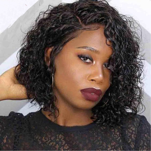 100 Human Hair Short Wig Pre Plucked Hairline Glueless Lacefront Bob Cut Virgin Remy Peruvian Wigs Full Lace For Black Women Bleached Knots