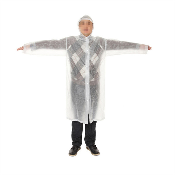 Portable Raincoat Rain Poncho with Hood and Sleeves Rainwear for Adults Men Women (White) #219916