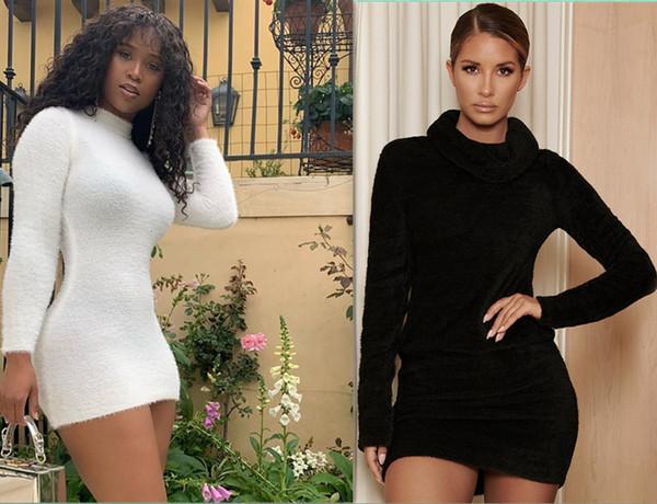 Womens Sexy Ladies Outono-Inverno Magro Bodycon Sweater Dress Feminino O Long Neck Sleeve Partido malha Lápis Mini Dress Roupas