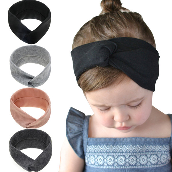 best selling Baby Girls Elastic Soft Cotton Cross Headbands Infant Cute Knot Hairbands Children Hair Accessories Kids headdress Headwear WKHA15