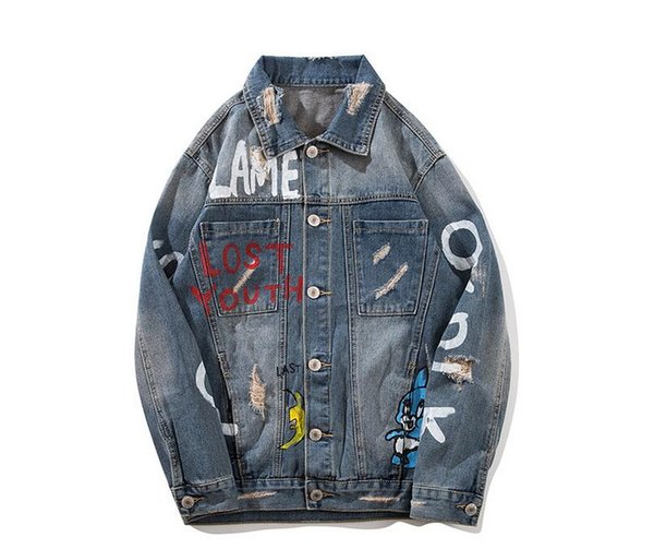 Fashion Designer Mens Cartoon print Denim Jackets Slim Fit Ripped Streetwear Motorcycle Biker Jeans Jacket Coat SG