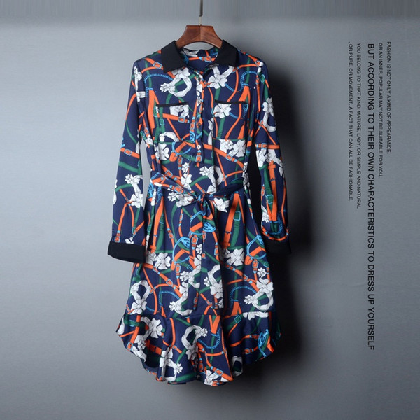 2019 Spring Summer Elegant Long Sleeve Turn-Down Collar Romantic Floral Belts Print With Sash Knee-Length Dress Casual Dresses A03146016