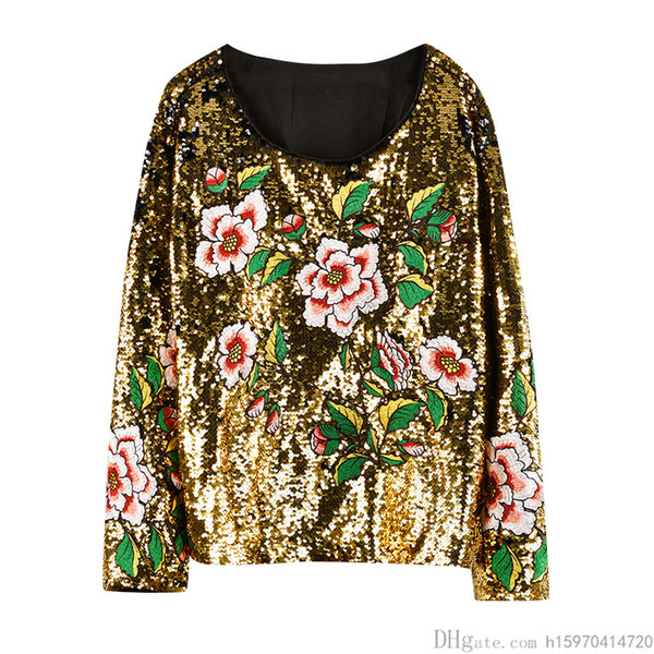 2019 Spring Womens Designer T Shirts Sequins High Quality Luxury Womens Clothing Flowers Embroidered T-shirt Off-the-shoulder Crop Top