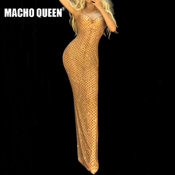 Drag reine costumes voir à travers maille de bal strass or longue soirée robes de soirée sexy célébrité robe tapis rouge