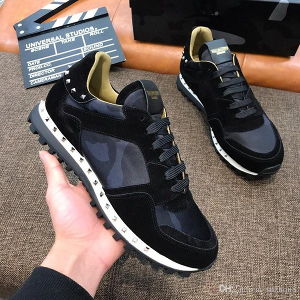 VALENTINE mens designer shoes off spikes Camo Rock runner leather Sneakers white ace men sneaker casual shoes vetements