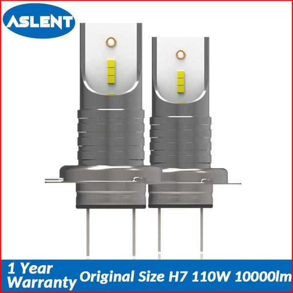 Aslent New Short Mini Size H7 LED Bulbs Car Headlights Headlamp CSP Chips for Auto lights lamps 55W/bulb 10000lm 6500K 12v 24v