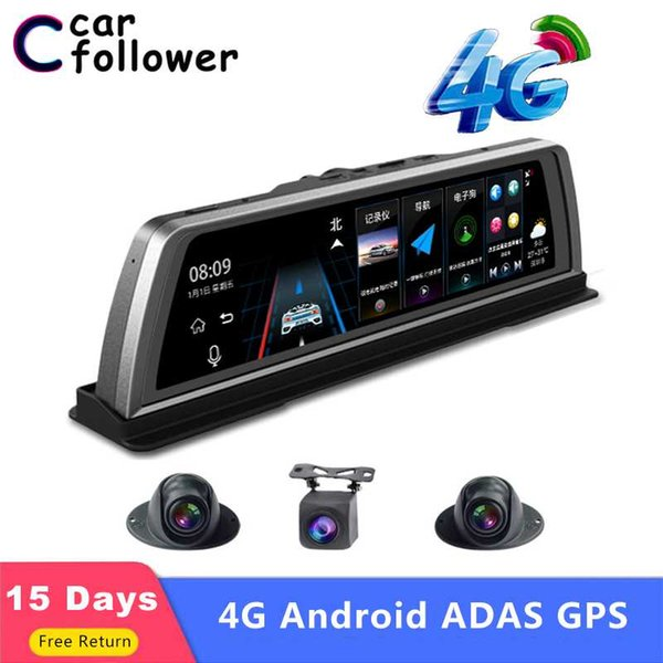 10 inch 4g adas android car dashboard dvr gps navigation fhd 1080p dual lens dash camera g sensor car camera recorder wifi