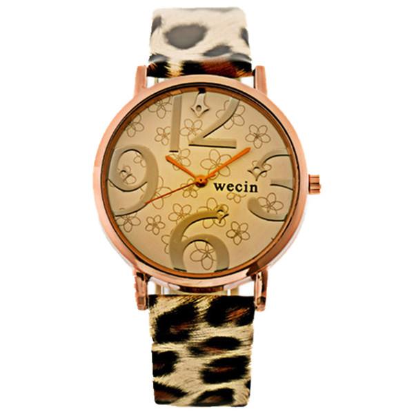 Fashion women Leopard print big numbers flower printing leather watches wholesale ladies female dress quartz wrist watches