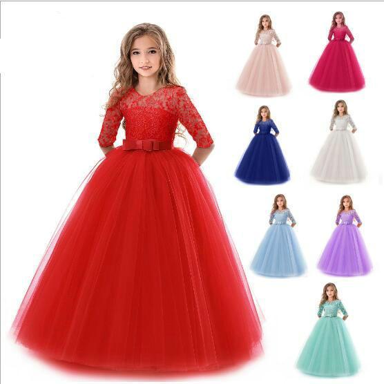 Compre 1 Unids Muchachas Bonita Encaje Tulle Princesa Vestido Maxi Vestido De Boda Es Kids Formal Full Party Vestidos Largos Volantes Vestido Plisado