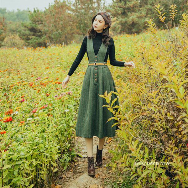 Fashion Elegant Striped Women Sets Black Sweater & Striped Tank Dress Casual Two Piece Dresses Vintage Lady Boho Vestidos Faldas