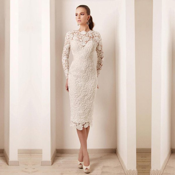 Elegant Long Sleeve High Neck Pearls Lace Short Mother Party Evening Dress 2018 Knee Length Mother Of The Bride Dress Plus Size
