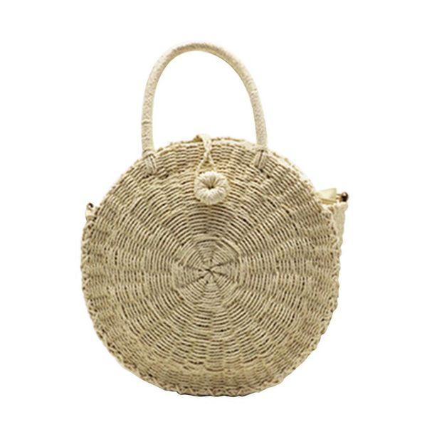 Outdoor Beach Circular Straw Braided Woven Beach Bag Natural Fashionable Versatile Handbag Sling Crossbody Bag For Ladies