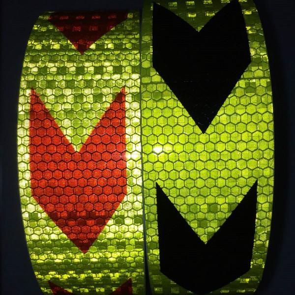 top popular 5CM*45CM Self-adhesive Arrow Reflective Tape PVC Warning Sticker Road Traffic Vehicle Reflective Sign 2021