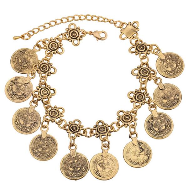 ashion Gioielli Bracciali Party Hippy Boho Beach Gioielli turchi Gold Silver Coin Vintage Bohemia Carved Coin Bracciali Bangles for Woman ...
