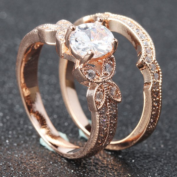 Unique Wedding Ring.Elegant Rose Gold Color Butterfly Zircon Rings Set For Women Girls Unique Wedding Band Finger Ring Fashion Ladies Jewelry Anel Pearl Ring Titanium