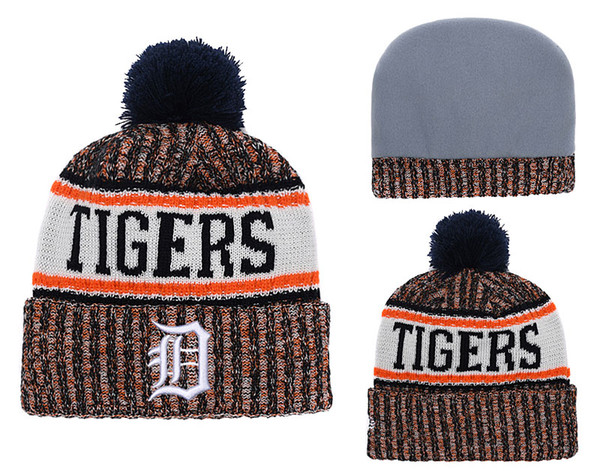 2018 New Sport tighers Baseball Skullies Hat Pom Cuffed Knitted Hats With Embroidered Team Logo Fans Fashion Winter Warm Women Beanies