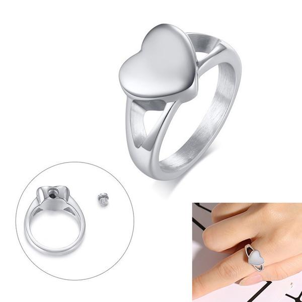 Heart Love Urn Rings for Women Stainless Steel Female anillo anel Keepsake Gifts