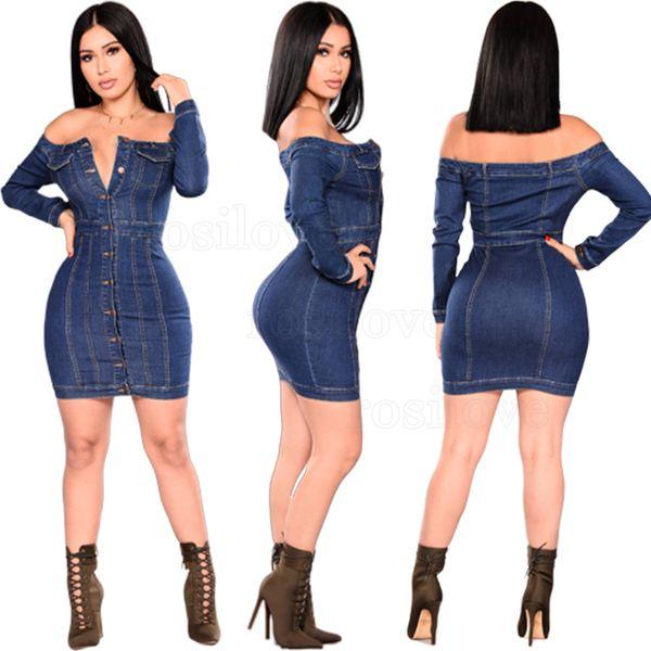 2019 Mujer del otoño Mujer atractiva del hombro Denim vestido largo de la manga más el tamaño de Jean azul del vestido ocasional del vestido de la falda apretada envoltura