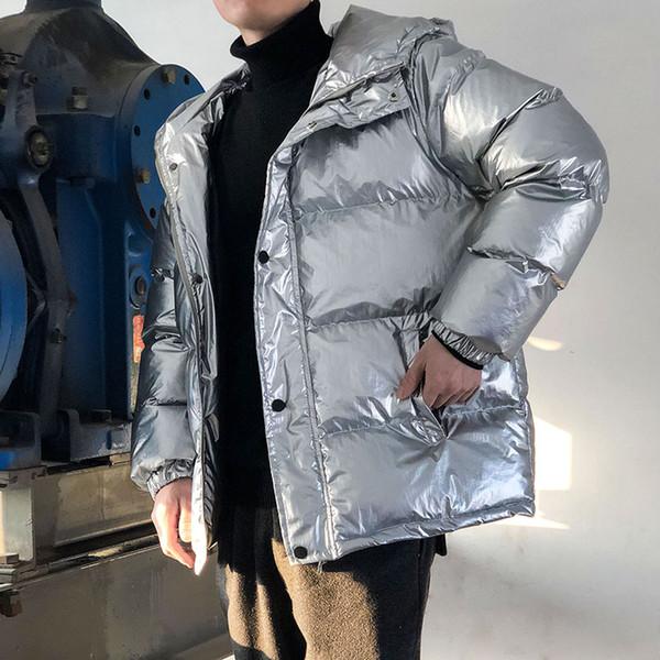 New Silver Bright Parka Men Winter Jacket Men Fashion Zipper Hooded Parka Thick Warm Jackets for Hip-hop Male Winter Coats