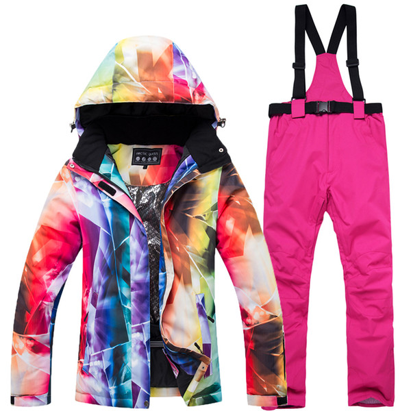 2019 New Cheaper Women Skiing clothing Snowboarding suit sets Waterproof Windproof Winter Mountain Snow Jackets + Bib pants