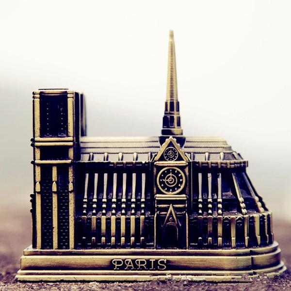 Notre Dame de Paris Model France Famous building fashion metal Arts and Crafts study office ornament gift 10cm