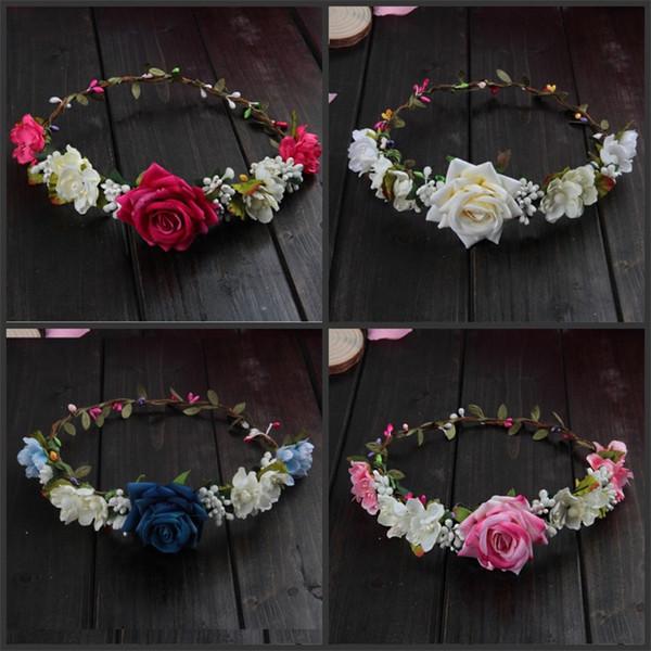 Künstliche Blumen Rose Kränze 4 Farben Blume Krone Exquisite Festival Supplies Hochzeit Braut Brautjungfer Mode Haar Kranz 5cxaE1