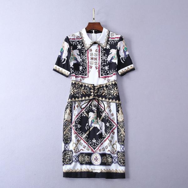 329 2019 Marka Aynı Stil Elbise Yaka Boyun Bir Çizgi orta Buzağı Kısa Kollu İmparatorluğu Polyester Kadınlar Için Elbiseler SH