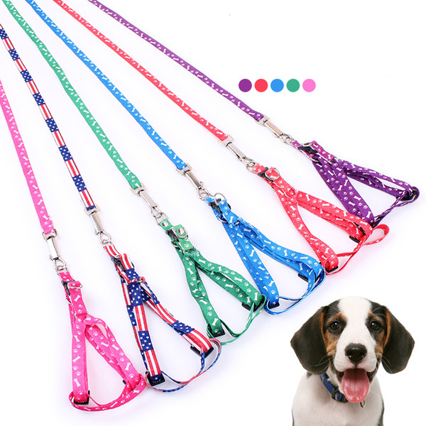Fashion Nylon Pet Dog Adjustable Off White Print Traction rope Leash and Collar