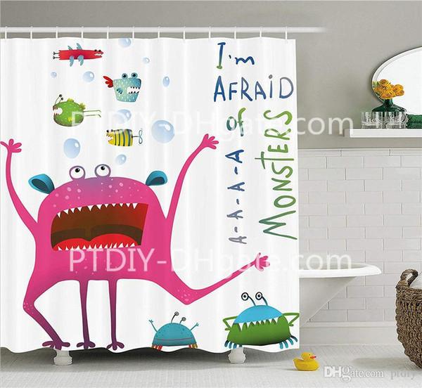 Großhandel Unterwasser Tier Kreatur Mit Spaß Monster Fish Im Angst Vor Monstern Zitat Kinder Stoff Badezimmer Duschvorhang Von Ptdiy1 21 36 Auf