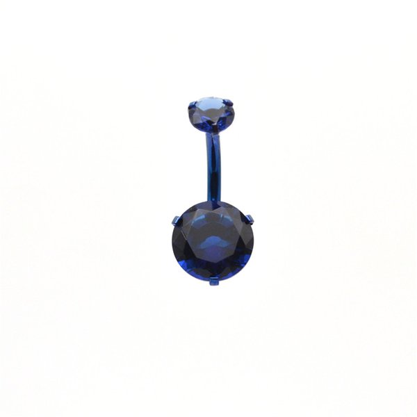 Blue BELLY Bars Zircon CZ NAVEL Bar navel Button RINGS Body Jewellery 316L Internally Threaded 8mm 9mm 10mm