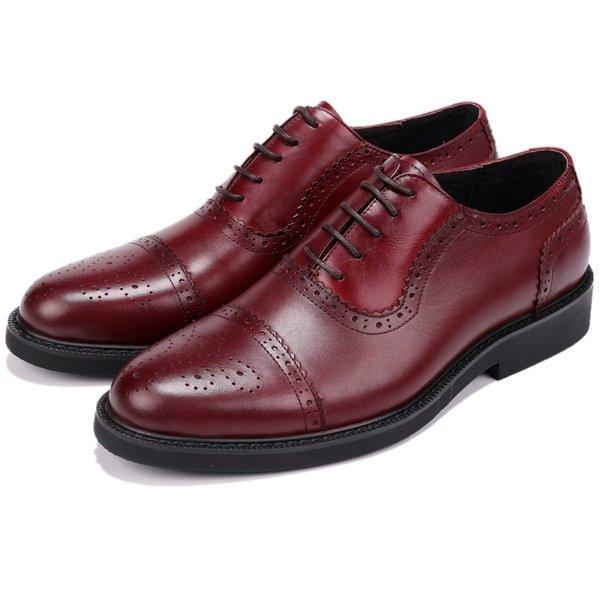 CLORISRUO Moda Siyah / Tan Oxfords Erkek Elbise Ayakkabı Hakiki Deri İş Ayakkabıları Erkek Resmi Düğün Damat