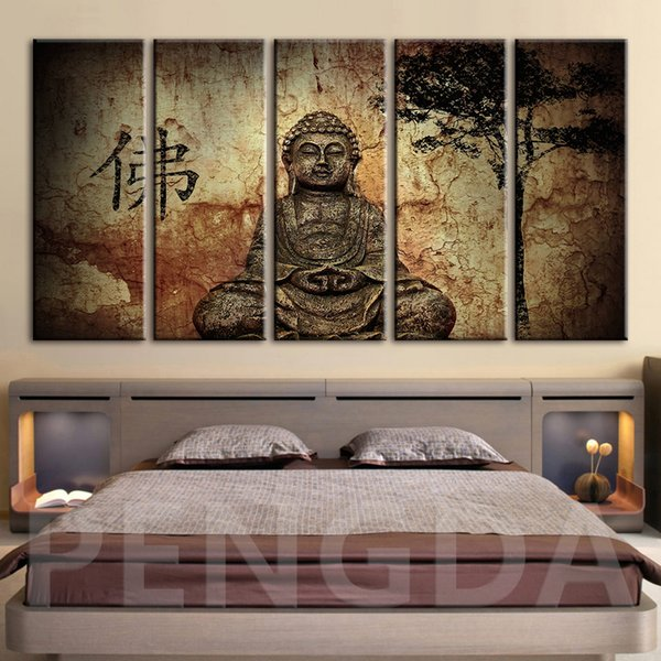 Home Decoration Picture Modern Printed Canvas Painting Buddha Statue Modular Tree Poster Cuadros For Living Room Wall Art Framed