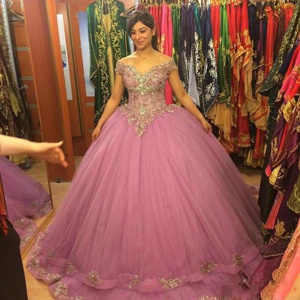 Длина пола Вечерние платья Vestidos De Noite Longos 2019 Кружевные аппликации с плеч Пышное бальное платье принцессы Пышные выпускные платья