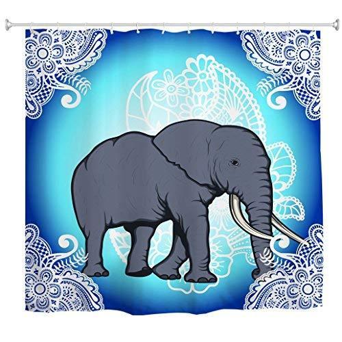 Elefante Cortina De Chuveiro Indiano Bohemian Mandala À Prova D 'Água Do Banheiro Cortinas De Banho Azul Branco