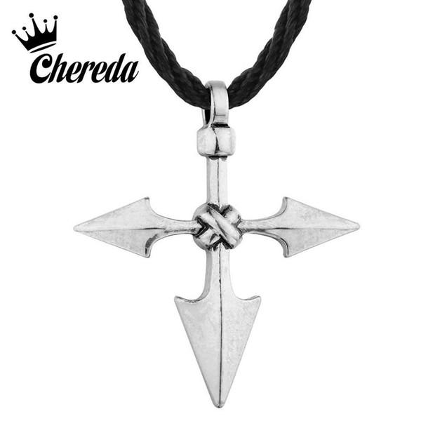 Chereda Grande Guerreiro Lança Viking Cruz Jóias Pingente de Prata Antigo do vintage para Homens Arrow Chic Colares