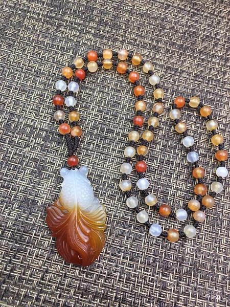Naturally Fashionable White Red Agate Goldfish Shape Pendant Bead Necklace Wholesale