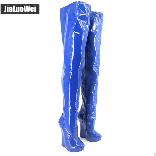 New arrival 18CM high Heel wedges Platform Sexy Fetish stunning slim over-the-knee thigh boots unisex plus size SM Queen pole dancing shoes