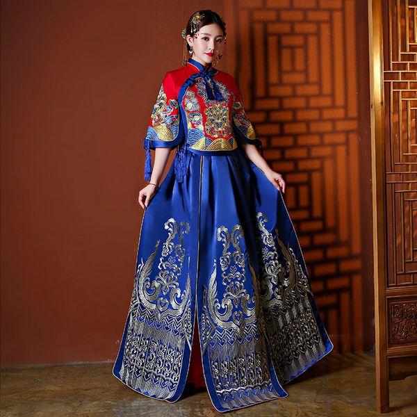 Nouveauté Royal Bleu Femmes Mariage Costume Cheongsam Élégant Mariée De Soirée De Mariage Robe De Soirée À Manche Manches Gland Qipao Taille S-XL