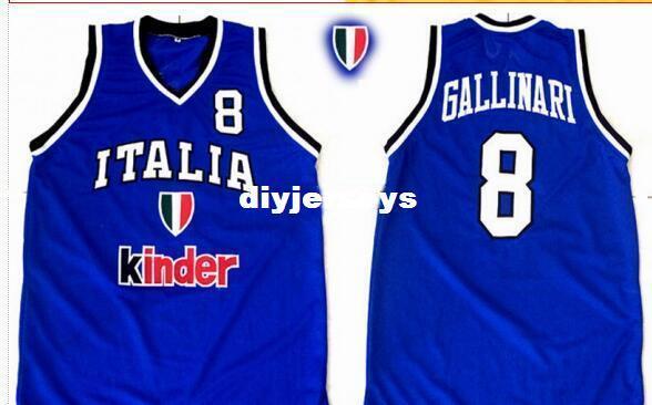 Su misura # 8 Danilo Gallinari maglie ricamo di alta qualità Team Italia Italia Vintage maglie ricamo realizzato retrò da uomo