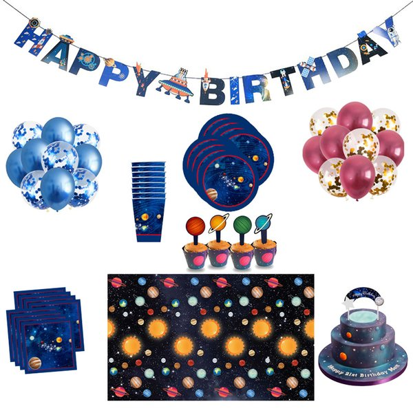 Astronaut Space Party Supplies Birthday Party Decorations Kids Outer Space Planets Science Fiction Theme Happy Birthday Supplies