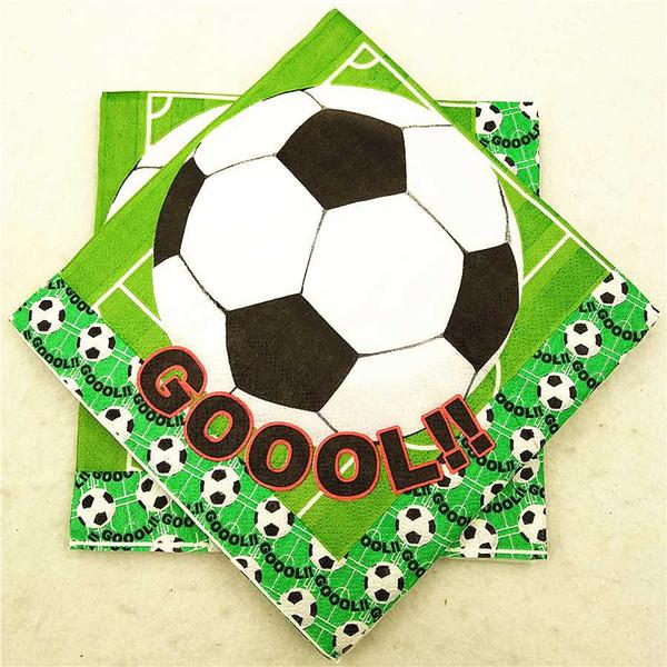 20 teile / satz Fußball Partei Liefert karikatur thema papierserviette / gewebe / handtuch baby dusche geschirr kindergeburtstagsfeier dekoration