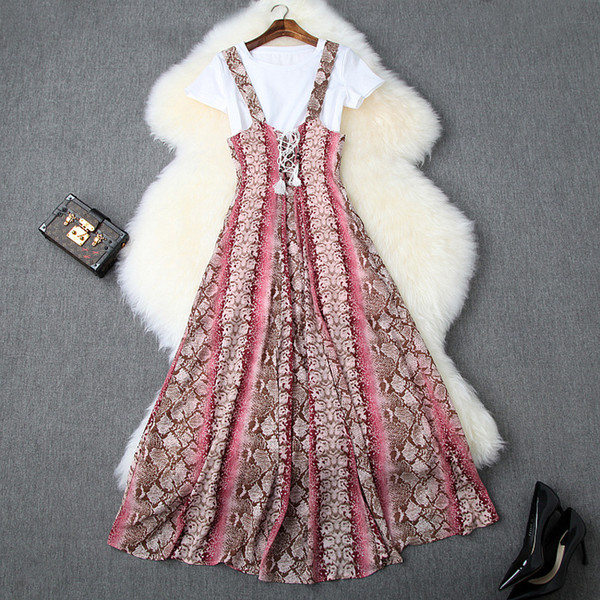 2019 Summer Short Sleeve Crew Neck T-Shirt + Ribbon Tie-Bow Snakeskin Mid-Calf Dress Casual Two Piece 2 Pieces Set 70900T9961